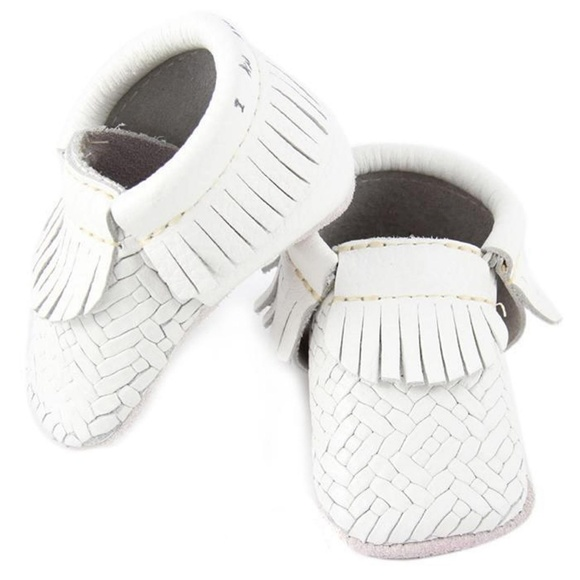 White Genuine Leather Baby Moccasins